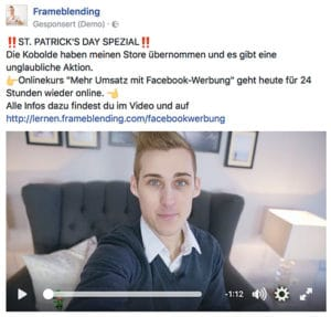 Facebook Anzeigen Video